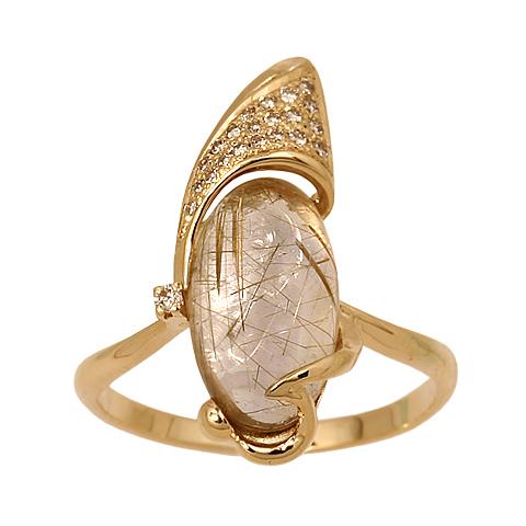 Кольцо wind - белое золото 750, желтое золото 750, кварц волосатик 25,36 кар, бриллианты
